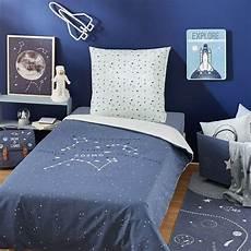 parure de lit espace parure de lit enfant en coton bleu marine imprim 233 140x200