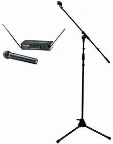 wireless microphone stands audio technica 252 t2 wireless vhf handheld stage microphone with boom mic stand package