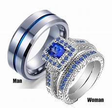 his hers couples ring sets womens white gold filled blue stone cz engagement bridal rings mens