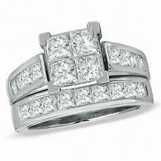 3 ct t w princess cut diamond bridal in 14k