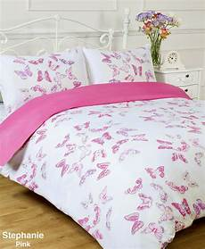 pink and white butterfly reversible duvet quilt