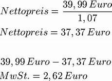 brutto netto berechnen formel prozentrechnung mehrwertsteuer brutto und netto