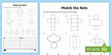 geometry nets worksheets 823 match the 3d shape nets worksheet maths resource twinkl
