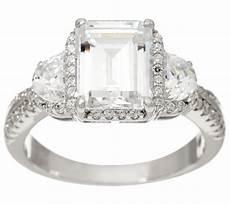 diamonique emerald cut bridal ring sterling qvc com