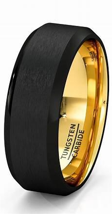mens wedding band black gold tungsten ring brushed surface center beveled edge 8 wedding