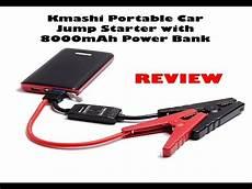 kmashi portable car jump starter with 8000mah power bank