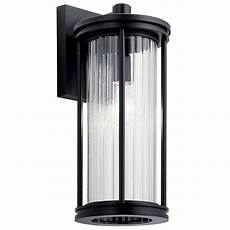 barras 16 quot 1 light outdoor wall light with clear ribbed glass black kichler lighting