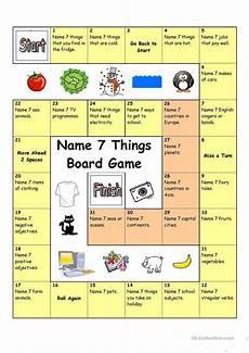 board game name 3 things worksheet free esl