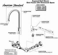 kitchen sink faucet parts plumbingwarehouse american standard commercial faucet parts for models 7293 152 and 7293 252