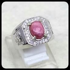 jual cincin batu akik permata natural ruby star johnshon ring alpaka super mewah indah