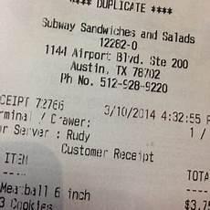 subway receipt iou subway sandwiches 1144 airport blvd east