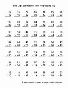 free addition worksheets with regrouping for second grade 9730 two digit subtraction worksheet two digit subtraction with some regrouping 49 questions m