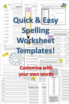 spelling worksheet templates customize with your words for grades 1 3