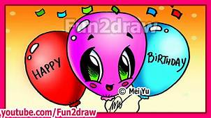 How To Draw Easy Cute Things – Happy Birthday Balloons