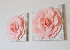 two wall flowers light pink roses neutral gray by bedbuggs