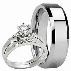3 pc his hers mens tungsten 8mm band womens heart engagement wedding ring ebay