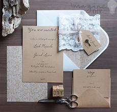 how to make rustic kraft and lace wedding invitations