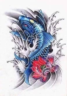 tatto ikan koi di lengan クールな入れ墨