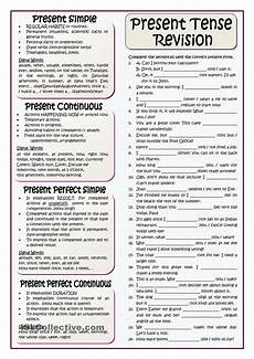 present tenses revision esl worksheets of the day tenses english english grammar rules