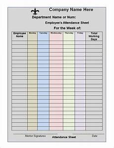 stunning template of attendance sheet for employee with weekly table form and mentor signature