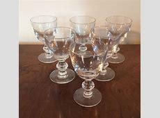 Antique Crystal Sherry Wine Stem Glass Set of 6   eBay