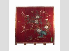 Oriental lacquer furniture gloss red 4 panel Room Divider