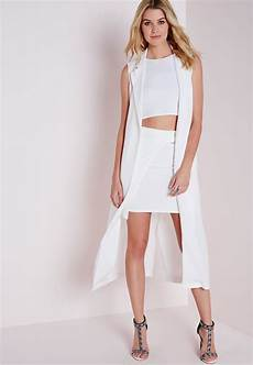 white sheer duster coats lyst missguided sleeveless maxi duster coat white in white