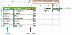 excel sumif function formula exles to conditionally