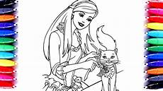 barbie and cat coloring pages learn art barbie sparkle how to paint for kids youtube