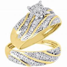 10k yellow gold diamond trio matching engagement ring