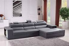 Polaris Mini Contemporary Grey Bonded Leather Sectional