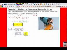 pc 6 3 notes exle 2 finding the component form of a vector youtube