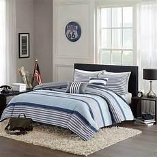 beautiful modern grey blue white stripe boys comforter set full queen twin xl ebay