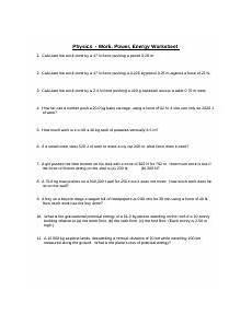 physics work power energy worksheet physics work power energy worksheet 1 calculate the