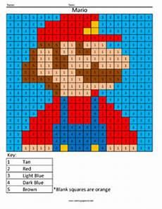 color by number worksheets mario 16199