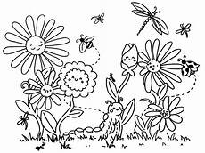 Ausmalbild Schmetterling Wiese Blumen Malvorlage Blumen Ausmalen Ausmalbilder