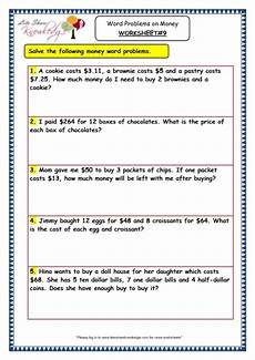 money math worksheets word problems 2388 grade 3 maths worksheets 10 5 word problems on money lets knowledge