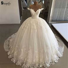 luxury bridal wedding gowns 2019 puffy ball gown v neck