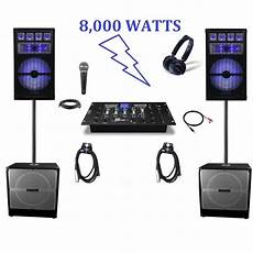 dj lighting equipment professional dj system complete dj system pa system 15 quot speakers dj rig sound ebay