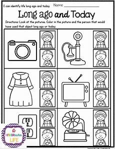 life long ago and today activities and sorting worksheets kindergarten social studies social