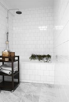 Subway Tile Bathroom Floor Ideas Subway Standard Tiles In White Marble Floor The Design