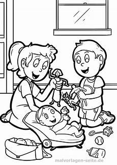 Malvorlagen Zum Drucken Spielen Malvorlage Geschwister Mit Baby Malvorlagen