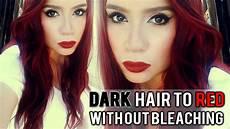 dark green hair turquoise without bleach dark dyed and virgin hair to red hair without bleach youtube