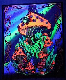 black light wall tapestries caterpillar mushroom blacklight reactive tapestry cloth wall hanging cotton ebay