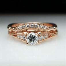 vintage style diamond engagement ring matching wedding band 14k rose gold engagement