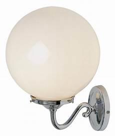 traditional polished chrome opal glass globe wall light uk made wall48