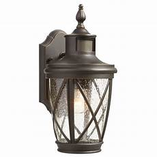 shop allen roth castine 13 78 in h rubbed bronze motion activated outdoor wall light at lowes com