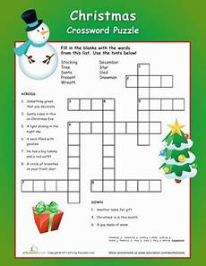 christmas crossword puzzle worksheet education com