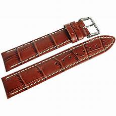 20mm Leather Band by 20mm Hirsch Modena Mens Gold Brown Alligator Grain Leather