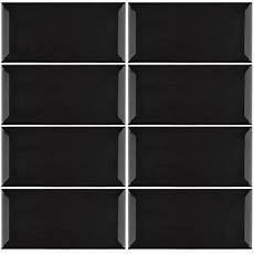 Subway Easy Black Bevelled Edge Gloss Wall Tiles 100x200